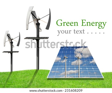 Solar energy panels and wind turbines on white background. Green energy concept. - stock photo