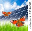 Solar energy panels in rural landscape. Environmental protection concept. - stock photo