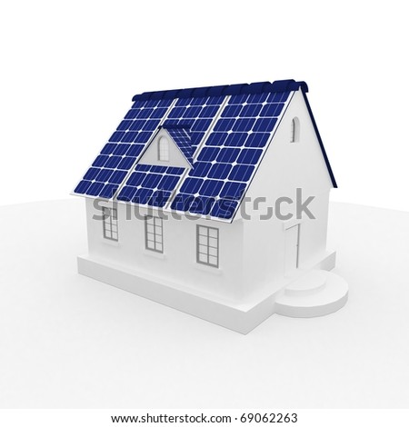 solar energy panels on a roof of house.3D rendering. - stock photo
