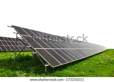 Solar energy panels on white background - stock photo