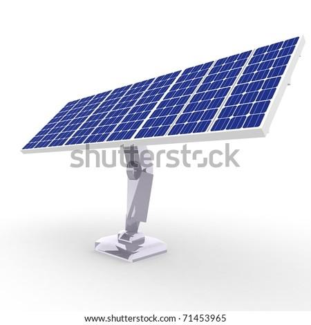 solar energy panels under blue sky. - stock photo