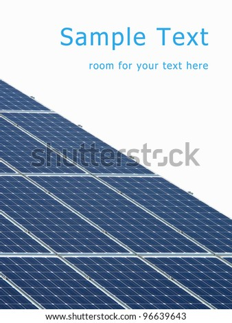 Solar energy panels with room for your text. - stock photo