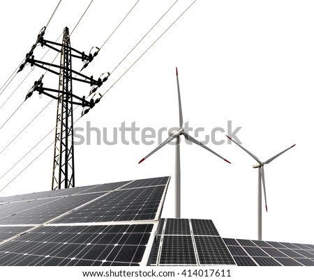 Solar energy panels with wind turbines and electricity pylon on white background. Clean energy.