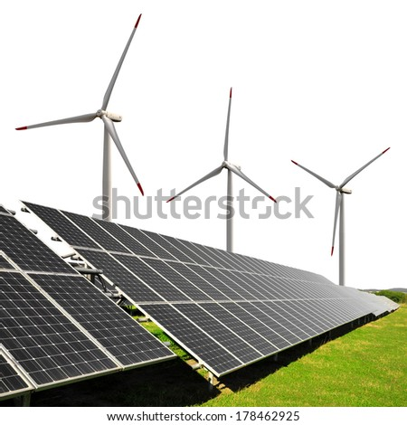 Solar energy panels with wind turbines on white background