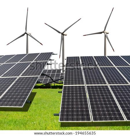 Solar energy panels with wind turbines on white background - stock photo
