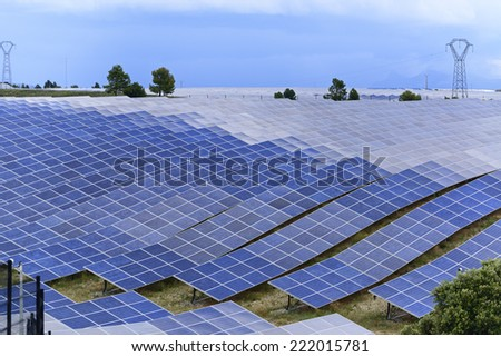 Solar energy photovoltaic panels of a big power plant - stock photo