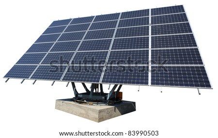 Solar energy plant isolated on white background with clipping path. - stock photo