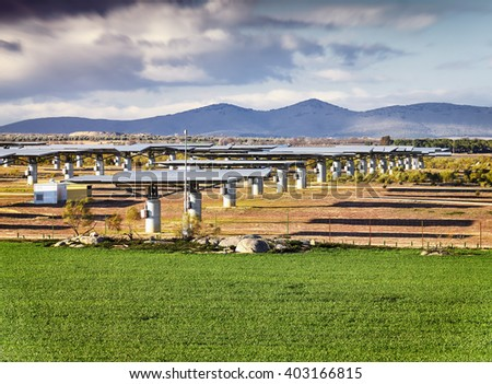Solar energy plant, photovoltaic panels, green energy. - stock photo