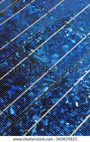 Solar energy; Solar panel in close-up; Photovoltaic industry - stock photo
