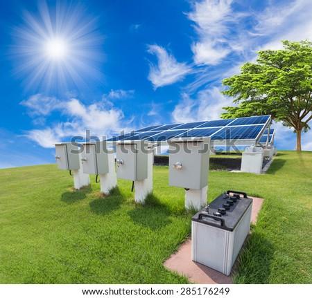 Solar energy system against sunny sky - stock photo