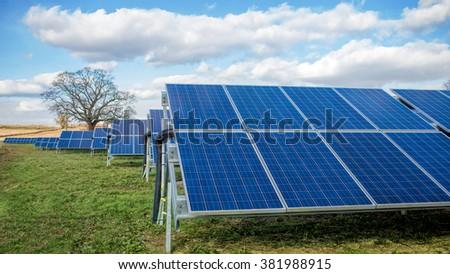 Solar Farm. Green Fields Blue Sky, Sustainable Renewable Energy. - stock photo