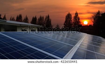 Solar farm with sunrise - stock photo