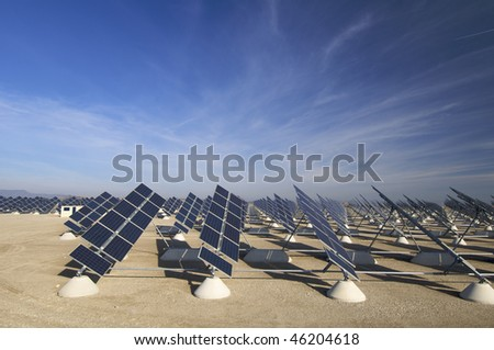 solar field with blue sky - stock photo