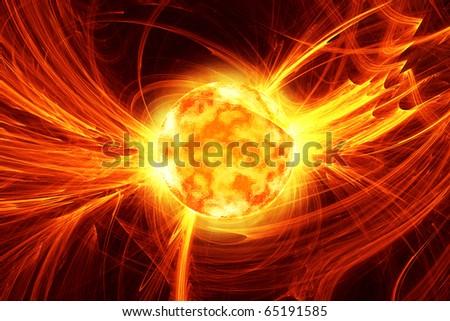 solar flare - stock photo