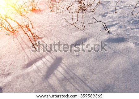 Solar flare on snowy slopes in winter. - stock photo