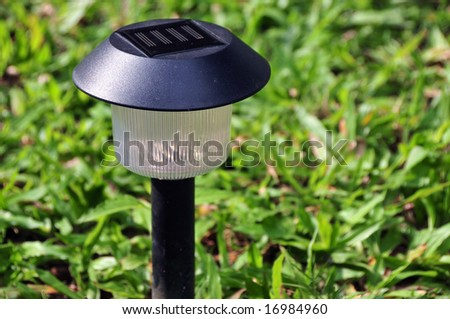 solar garden lamp - stock photo