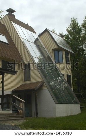 Solar Heated House built in the 1970's - stock photo