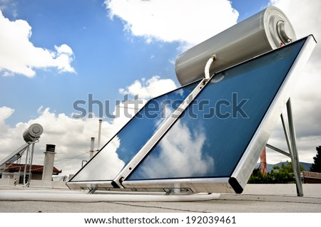Solar heater for green energy - stock photo