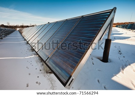 Solar heating plant producing hot water for power and house heating