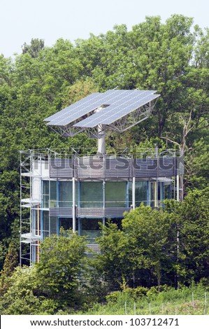 Solar House That Automatically Turns To The Sun - stock photo
