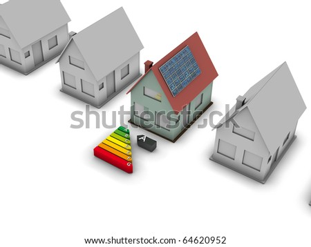 Solar house with energy chart. Concept image for alternative energy, green architecture, environment protection and saving themes. - stock photo
