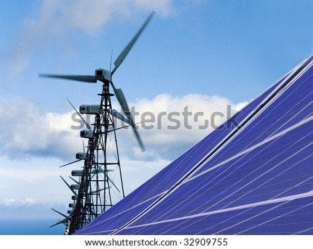 solar installation and wind power - stock photo