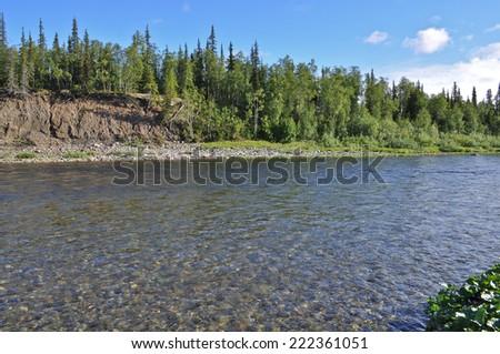 Solar landscape to the North of the Ural river. Polar Ural, Komi Republic, Russia. - stock photo