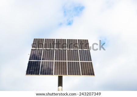 Solar panel against blue sky, concept for eco energy - stock photo