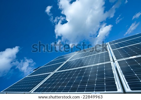 Solar Panel Against Blue Sky, Power Energy - stock photo