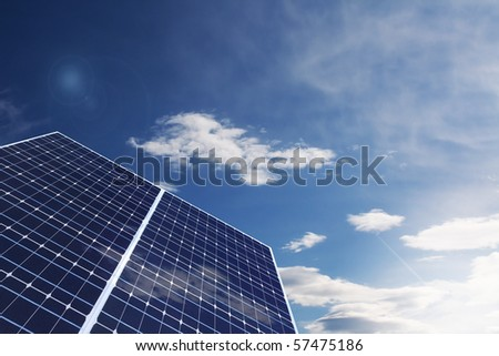 Solar Panel against cloudy sky - stock photo