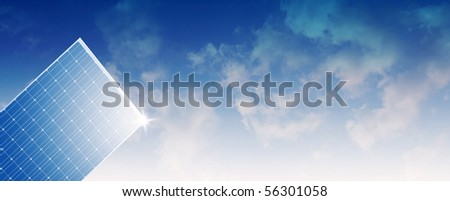 Solar Panel against cloudy sky Panorama-Natural Energy Concept - stock photo