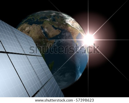 Solar panel against Earth with sunrise. Concept - echo energy. - stock photo