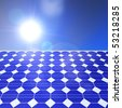 Solar panel and a sunny blue sky - stock photo