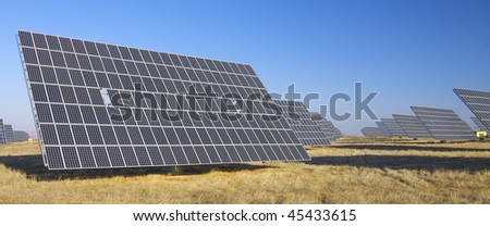 solar panel and clear sky - stock photo