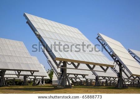solar panel and ECO Power plant - stock photo