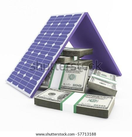 solar panel and money - stock photo
