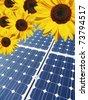 solar panel and sunflower - stock photo
