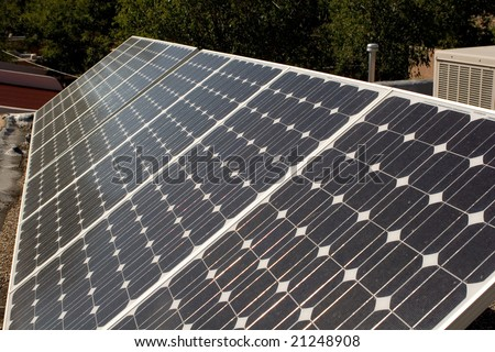 Solar panel array outdoors - stock photo