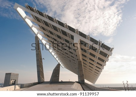 solar panel at the twilight - stock photo