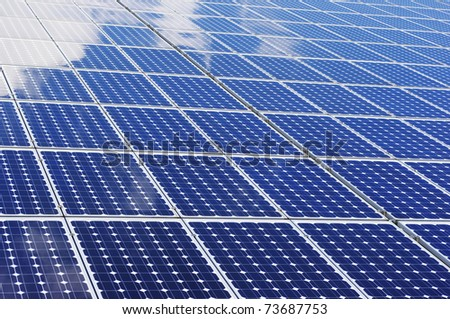 Solar panel - Clean, renewable energy. - stock photo