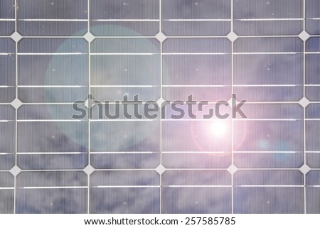 Solar panel closeup pattern abstract texture background with sun reflection.  - stock photo