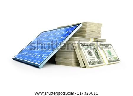 solar panel dollar on a white background - stock photo