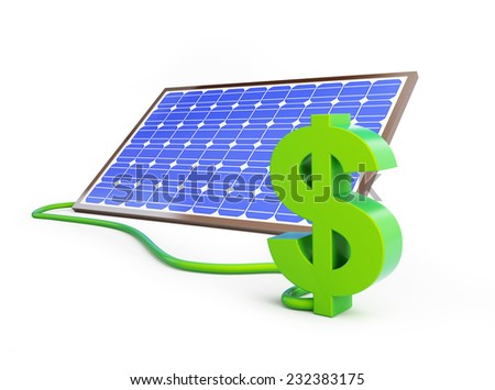 solar panel dollar sign  on a white background - stock photo