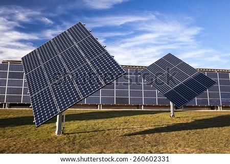 Solar panel electric system - stock photo