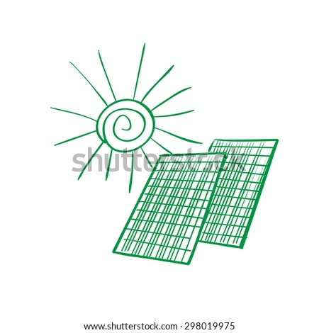 Solar panel energy scheme as doodles sketch how to convert or transform solar energy for the consumer - stock photo