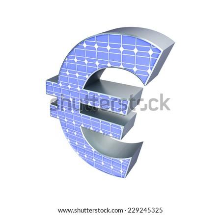 solar panel euro sign on a white background  - stock photo