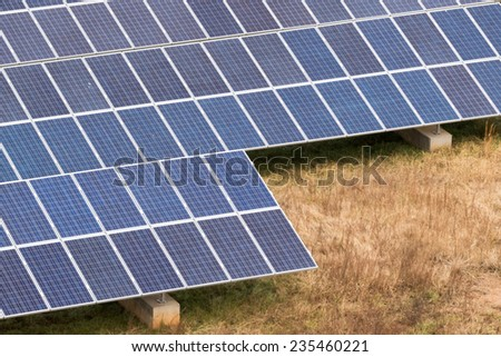 Solar panel farm producing clean green energy
