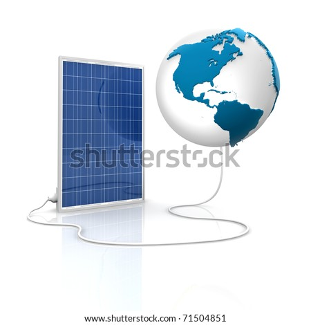 Solar panel for green and renewable energy. Save the world with photovoltaic and alternative energy. View of America. - stock photo
