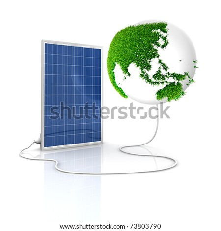 Solar panel for green and renewable energy. Save the world with photovoltaic and alternative energy. Asia and Oceania view with grass surface.