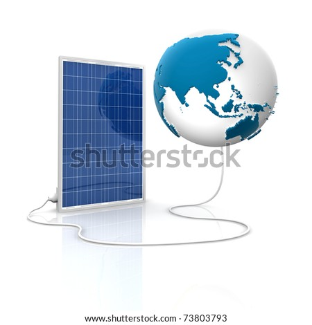 Solar panel for green and renewable energy. Save the world with photovoltaic and alternative energy. Asia and Oceania view.